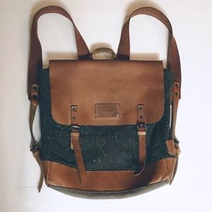 Ted Baker Tainam Green Wool, Tan leather backpack